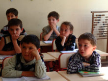 The 1st grade students at the Ganmukhuri school. The two kids from the right are Dima and Mary Sajaia from Otobaia vilage of Gali region.